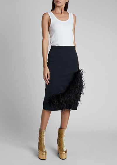 Santony Feathered Pencil Skirt