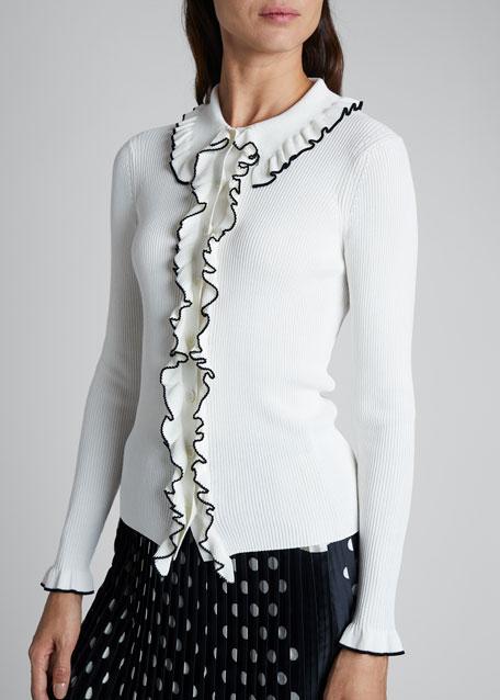 Piped-Ruffle Cardigan Sweater