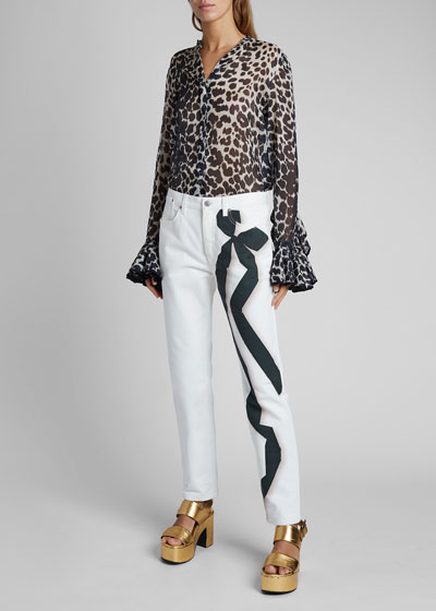 Perry Ribbon-Print Straight-Leg Jeans