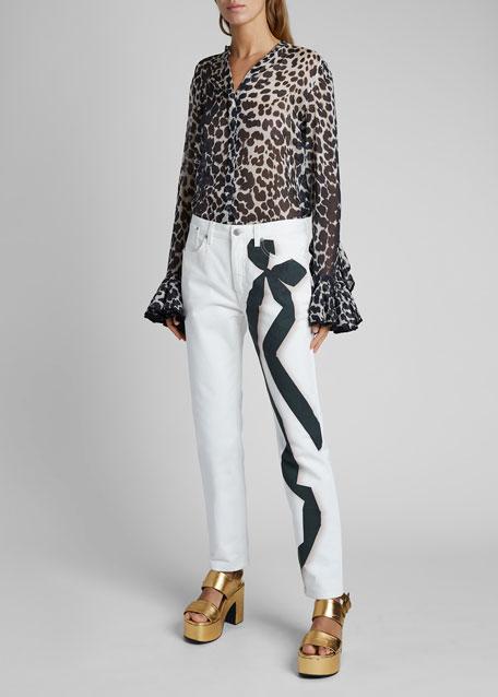 Perry Ribbon-Print Straight-Leg Jeans