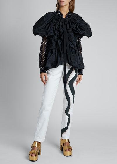 Caesar Ruched Tie Puff-Sleeve Jacket