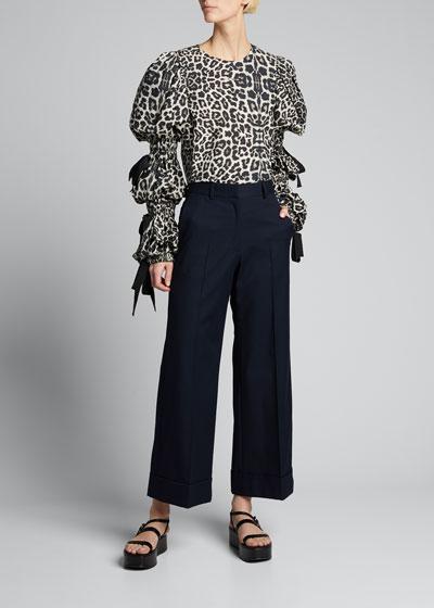 Leopard-Print Poplin Blouse