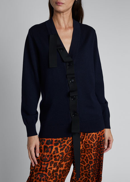 Jacky Ribbon-Detailed Cardigan Sweater