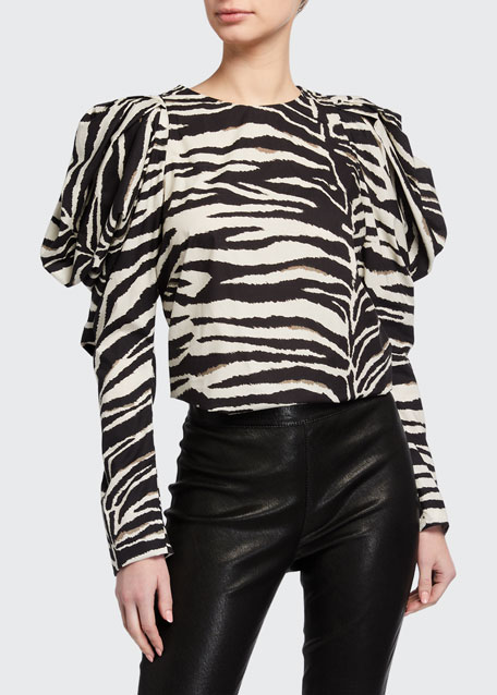 Image 1 of 1: Zebra-Striped Puff-Sleeve Top