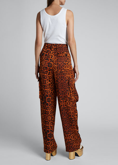 High-Rise Pleated Leopard Cargo Pants