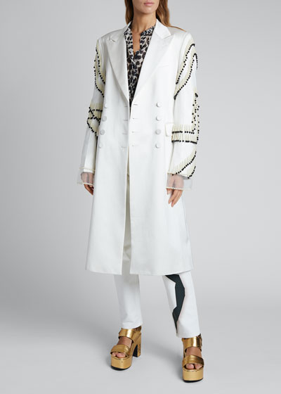 Rhoda Pearl Embroidered-Sleeve Double-Breasted Coat