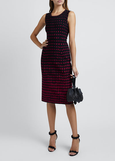 Polka-Dot Sleeveless Scoop-Neck Dress