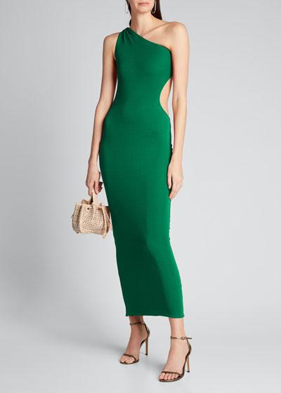 Jersey One-Shoulder Cutout Bodycon Dress