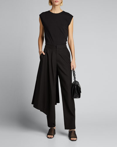Skirted Crepe Straight-Leg Pants