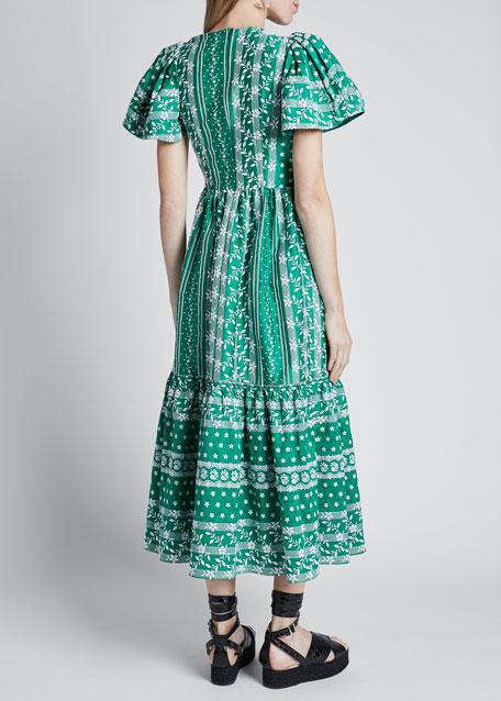 Short-Sleeve Asymmetric-Neck Midi Dress w/ Ruffle Hem