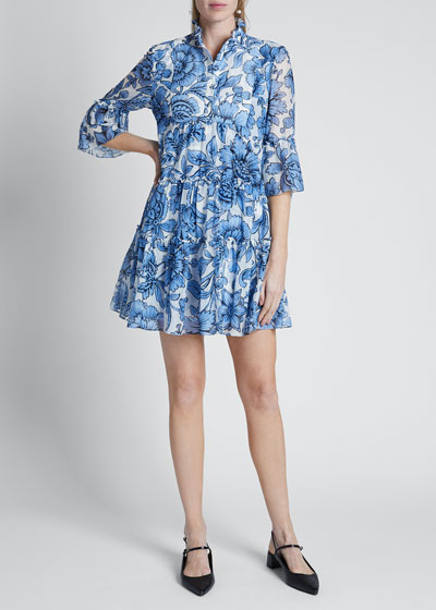 Floral Toile Print Voile Shirtdress
