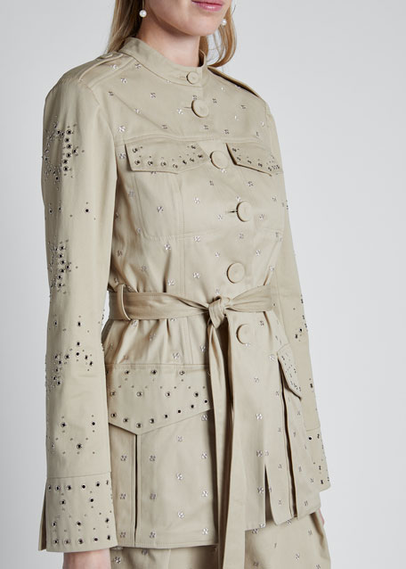 Eyelet-Embroidered Trench Style Jacket