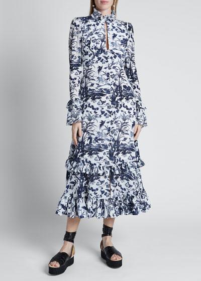 Jungle Toile Print Frilled-Neck Maxi Dress