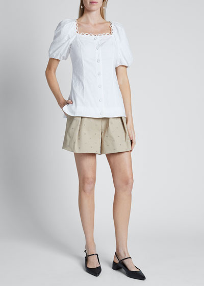 Puff-Sleeve Poplin Button-Front Top