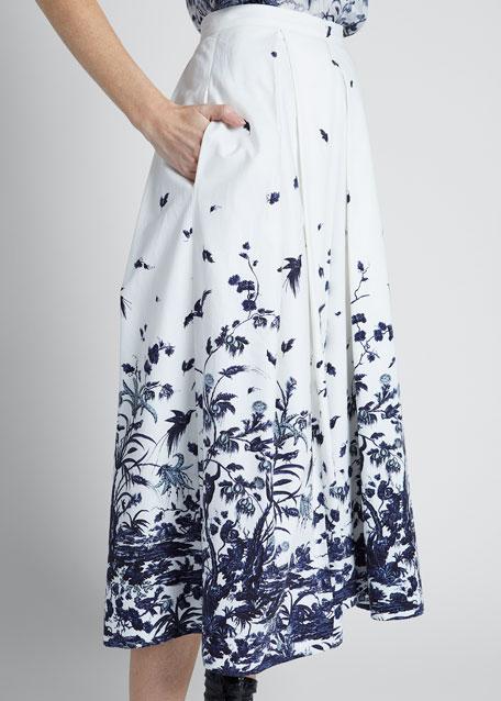 Floral Toile Print Skirt
