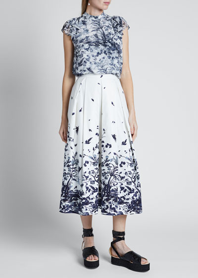 Floral Toile Print Skirt