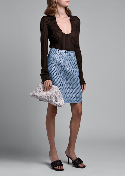 Ribbed Silk Scoop-Neck Polo Sweater