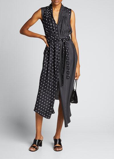 Asymmetric Polka-Dotted Dress