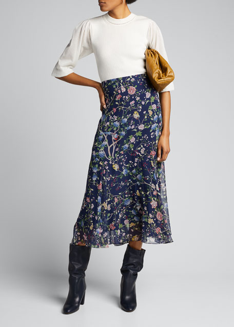 Shea Flora Zigzag Godet Maxi Skirt
