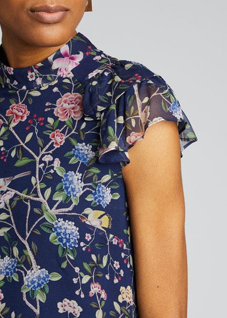 Opal Floral Print Chiffon Mock-Neck Top