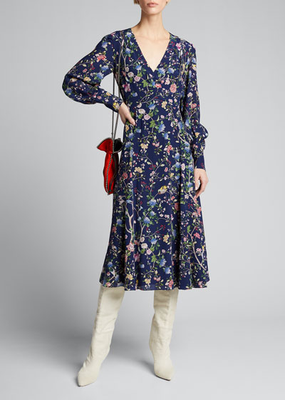 Kaiya Floral 3/4-Sleeve Maxi Dress