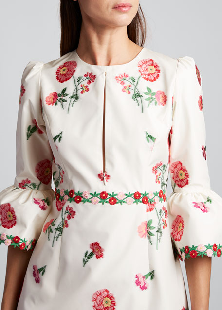 Bell-Sleeve Fitted Dress