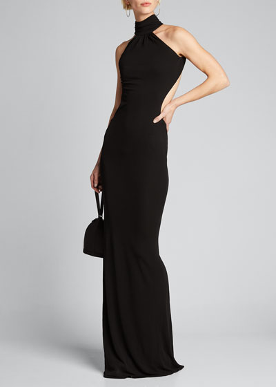 High-Neck Backless Gown
