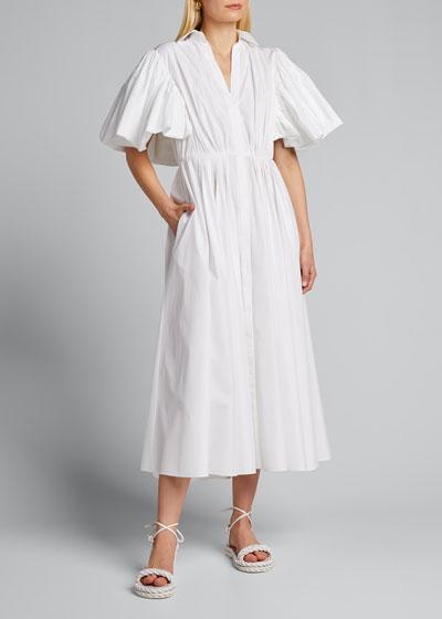 Poplin Cape-Sleeve Midi Dress