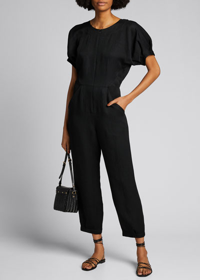 Rae Puff-Sleeve Cropped Jumpsuit