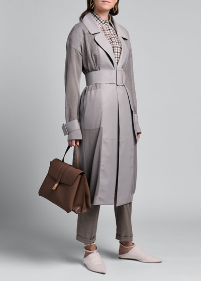 Netted Trench Coat with Leather Trim