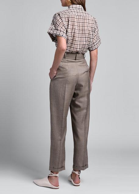 Plaid Belted Straight-Leg Pants