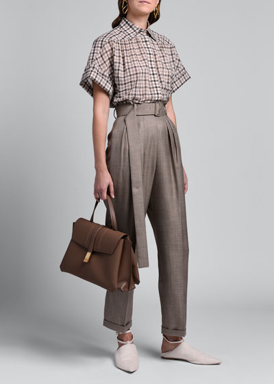 Plaid Belted Straight-Leg Pants