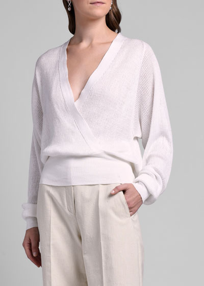 Linen-Silk Wrap Sweater