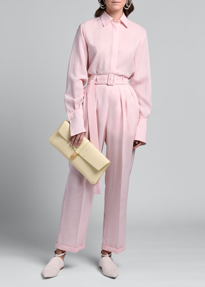 Mohair-Silk Belted Pants