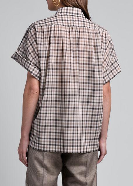 Checked Wool-Silk Shirt