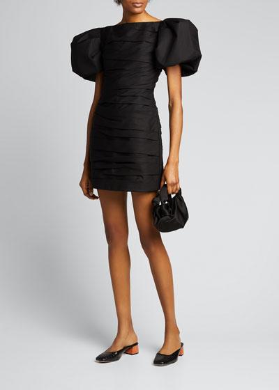 Shelly Cotton Twill Puff-Sleeve Dress