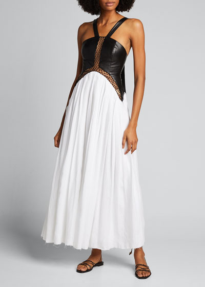 Athena Linen & Leather Halter Gown