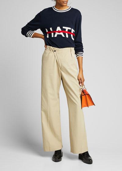 No Hate Intarsia Crewneck Sweater