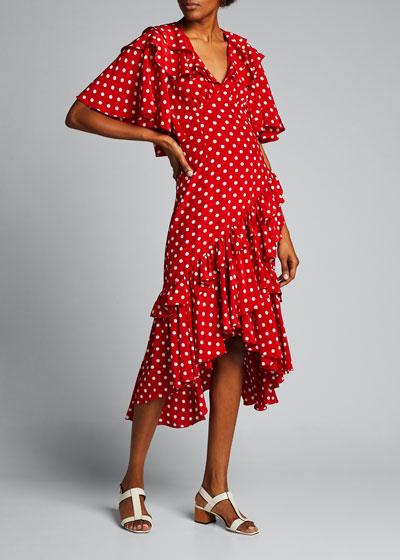 Dot Asymmetric Ruffle Dress