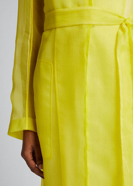 Crinkled Organza Trench Coat