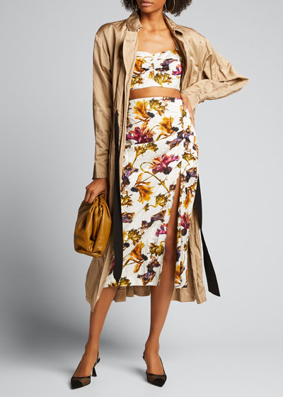 Floral-Print Washed Sateen Ruched Skirt