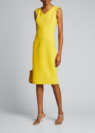 Double Faced V-Neck Sleeveless Sheath Dress