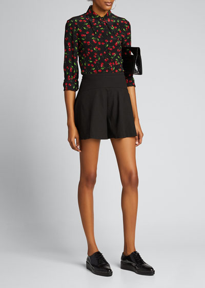 Silk Cherry Print Button-Down Shirt