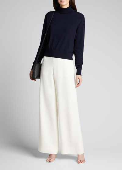 Aaron Wide-Leg Georgette Pants