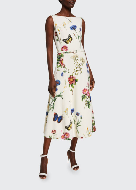 Image 1 of 1: Bateau-Neck Midi Fit & Flare Dress