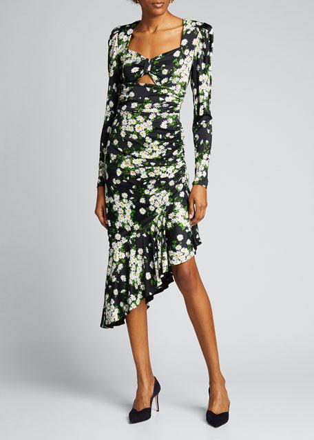 Daisy Bouquet Ruched Jersey Asymmetric Dress