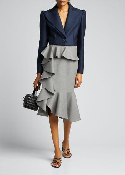 Wool-Blend Cascade Ruffle Skirt