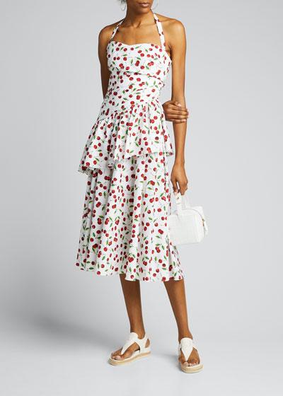 Cherry Print Ruched Peplum Halter Dress
