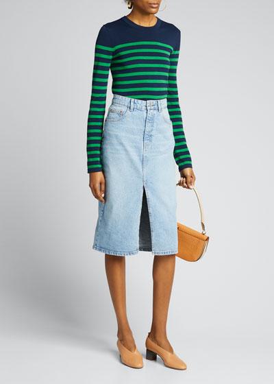 Striped Long-Sleeve Crewneck Sweater