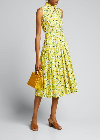 Lemon-Print Sleeveless Shirtdress with Belt